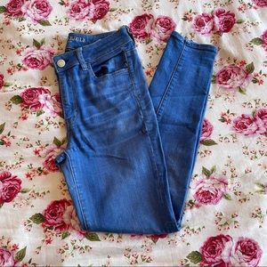 AEO- Bright Blue High Waisted Skinny Jeans